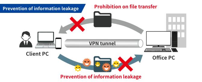 Secure VPN function